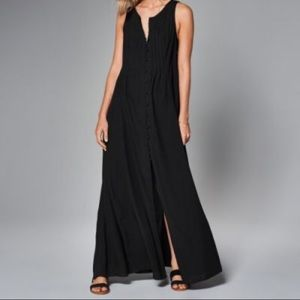Abercrombie&Fitch L black knit button down maxi